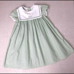 STRASBURG Mint Green Stripe Embroidered Dress